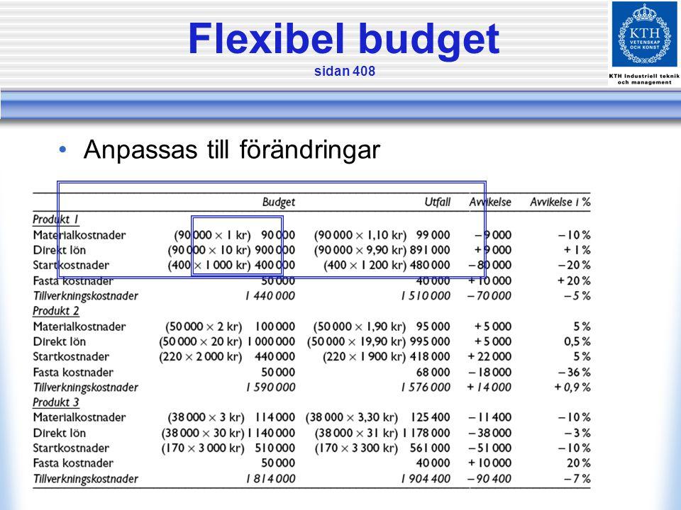 Flexibel budget sidan 408 •Anpassas till förändringar
