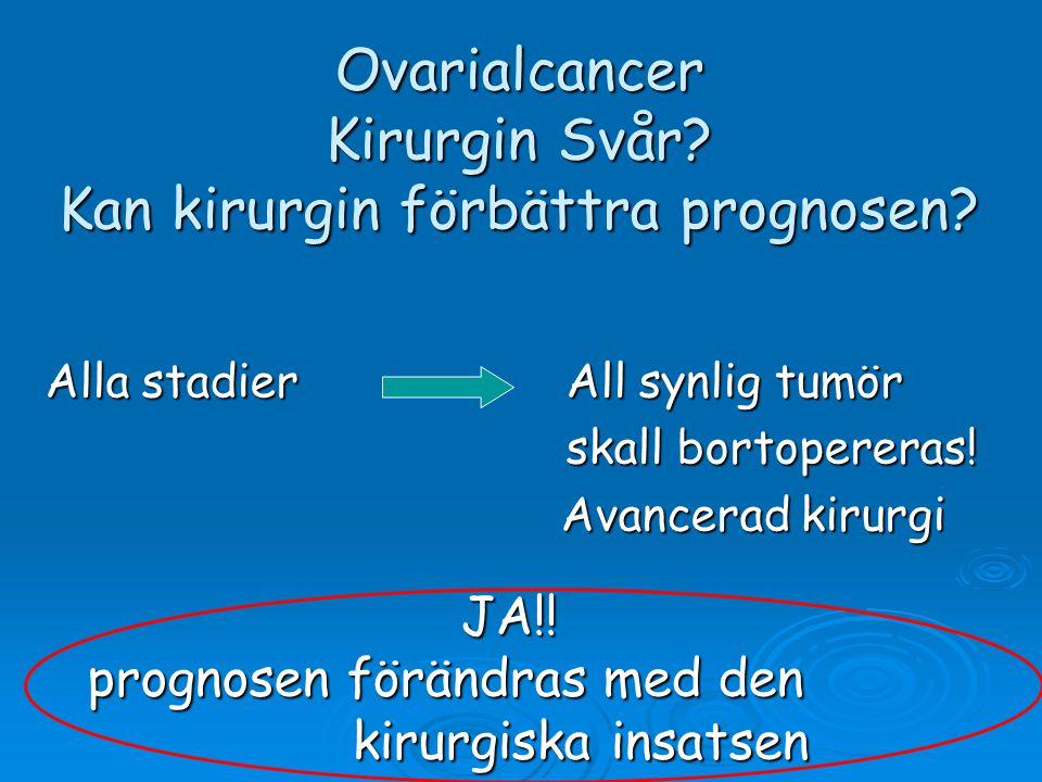 Ovarialcancer Kirurgin Svår? Kan kirurgin förbättra prognosen? Alla stadierAll synlig tumör skall bortopereras! Avancerad kirurgi Avancerad kirurgi JA