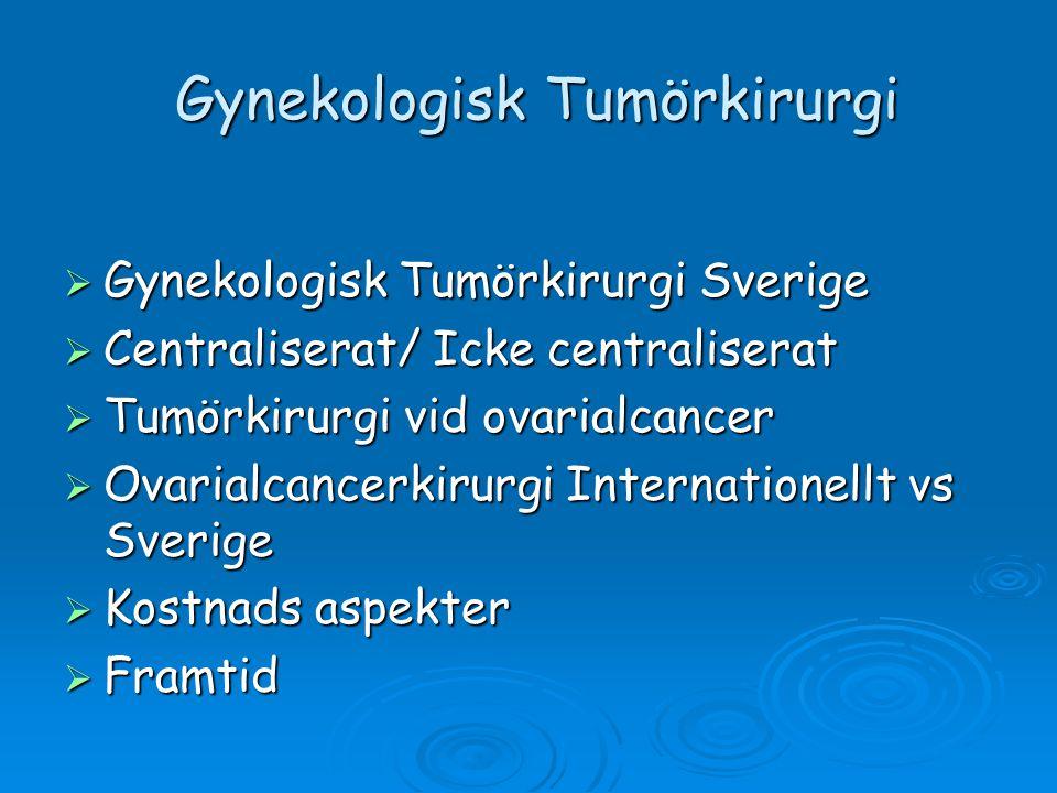 Gynekologisk Tumörkirurgi Sverige  Corpuscancer; 1400st nya fall/år  Ovarialcancer; 770st nya fall/år  Cervixcancer; 470st nya fall/år  Vulvacancer; 150st nya fall/år