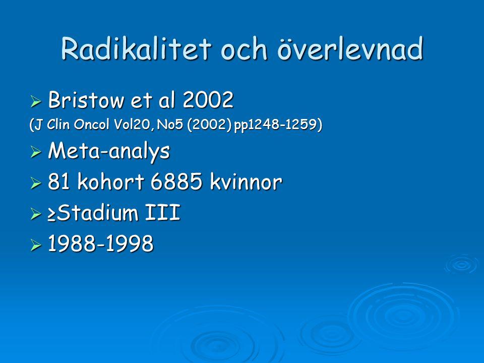 Radikalitet och överlevnad  Bristow et al 2002 (J Clin Oncol Vol20, No5 (2002) pp1248-1259)  Meta-analys  81 kohort 6885 kvinnor  ≥Stadium III  1