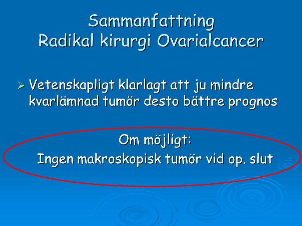 Sammanfattning Radikal kirurgi Ovarialcancer  Vetenskapligt klarlagt att ju mindre kvarlämnad tumör desto bättre prognos Om möjligt: Ingen makroskopi