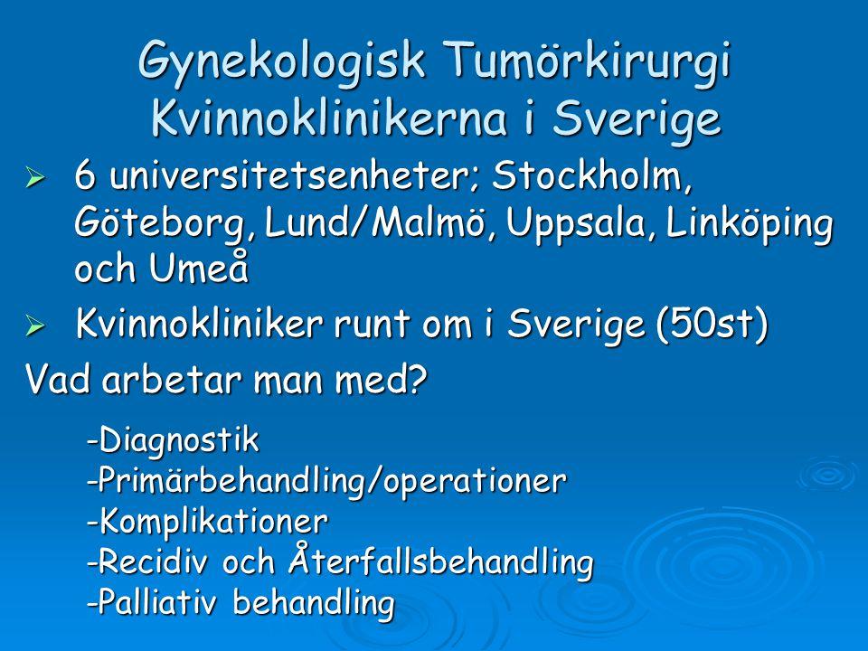 Gynekologisk Tumörkirurgi Kvinnoklinikerna i Sverige  6 universitetsenheter; Stockholm, Göteborg, Lund/Malmö, Uppsala, Linköping och Umeå  Kvinnokli