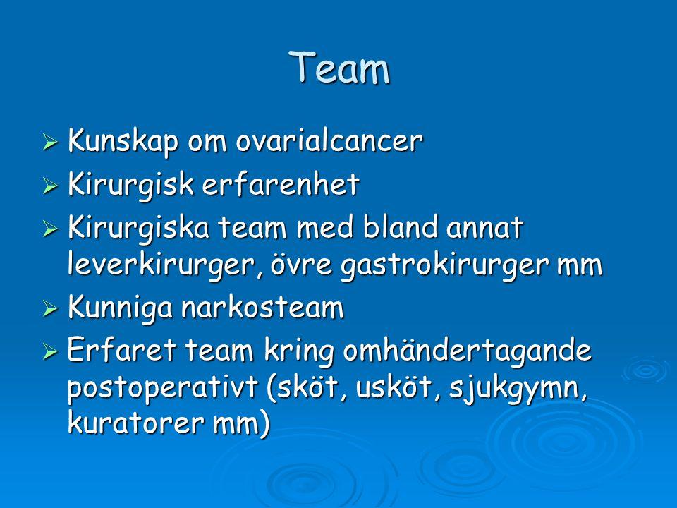 Team  Kunskap om ovarialcancer  Kirurgisk erfarenhet  Kirurgiska team med bland annat leverkirurger, övre gastrokirurger mm  Kunniga narkosteam 