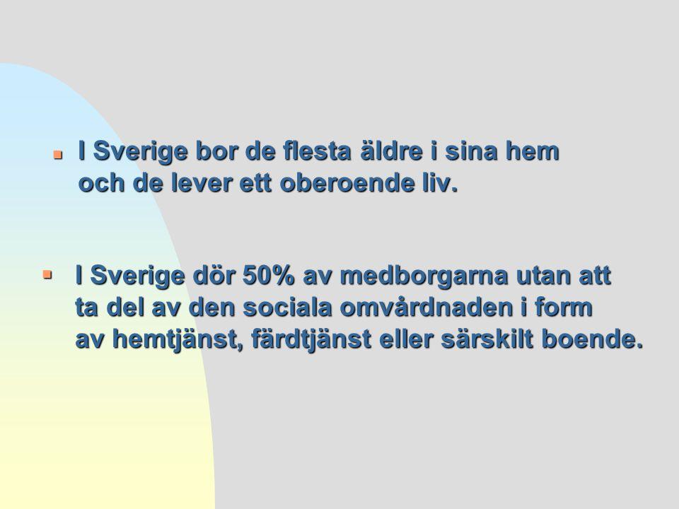  I Sverige dör 50% av medborgarna utan att ta del av den sociala omvårdnaden i form av hemtjänst, färdtjänst eller särskilt boende. n I Sverige bor d