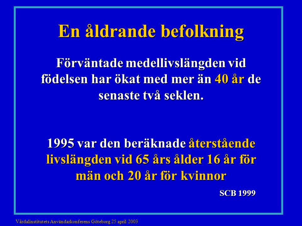 En åldrande befolkning 2000 130 000 demenssjuka 2010 150 000 demenssjuka 2050 240 000 demenssjuka Kostnader 2000 38.4 miljarder 2010 40-44 miljarder Wimo et al.