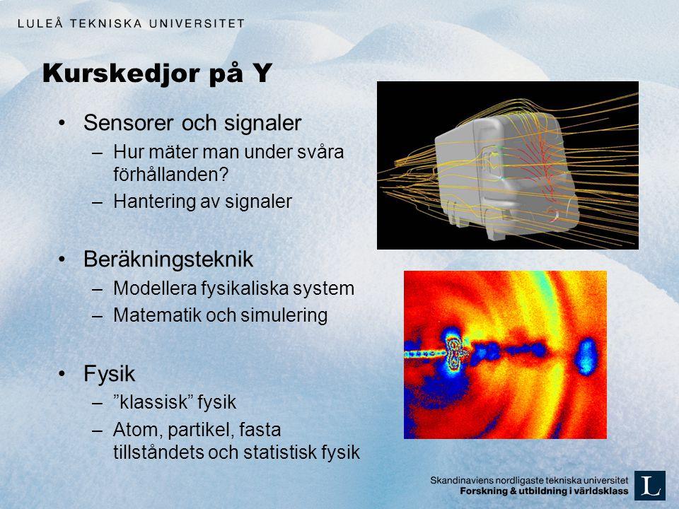 Kurskedjor på Y •Sensorer och signaler –Hur mäter man under svåra förhållanden? –Hantering av signaler •Beräkningsteknik –Modellera fysikaliska system