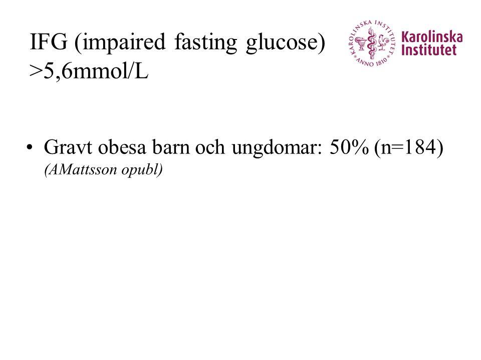 IFG (impaired fasting glucose) >5,6mmol/L •Gravt obesa barn och ungdomar: 50% (n=184) (AMattsson opubl)