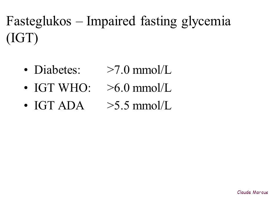 Typ 2 diabetes är ovanligt bland obesa barn i Europa T2DIGT •USA (Caprio -02) 4% 20% •Italy (Invitti -03)0.2%4.5% •Germany (Wiegand -05)1%8% •Sweden preliminary data<1% (Natl Childh obesity Centr)