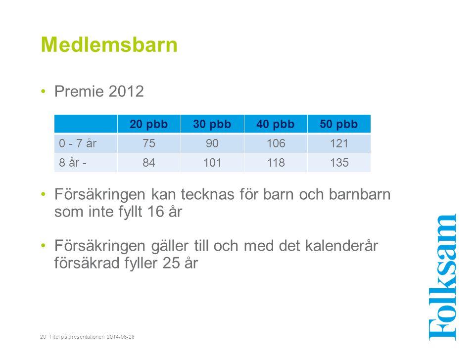 Medlemsbarn •Premie 2012 •Försäkringen kan tecknas för barn och barnbarn som inte fyllt 16 år •Försäkringen gäller till och med det kalenderår försäkr