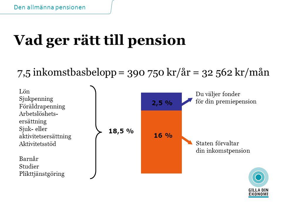 Den allmänna pensionen Vad ger rätt till pension Lön Sjukpenning Föräldrapenning Arbetslöshets- ersättning Sjuk- eller aktivitetsersättning Aktivitets