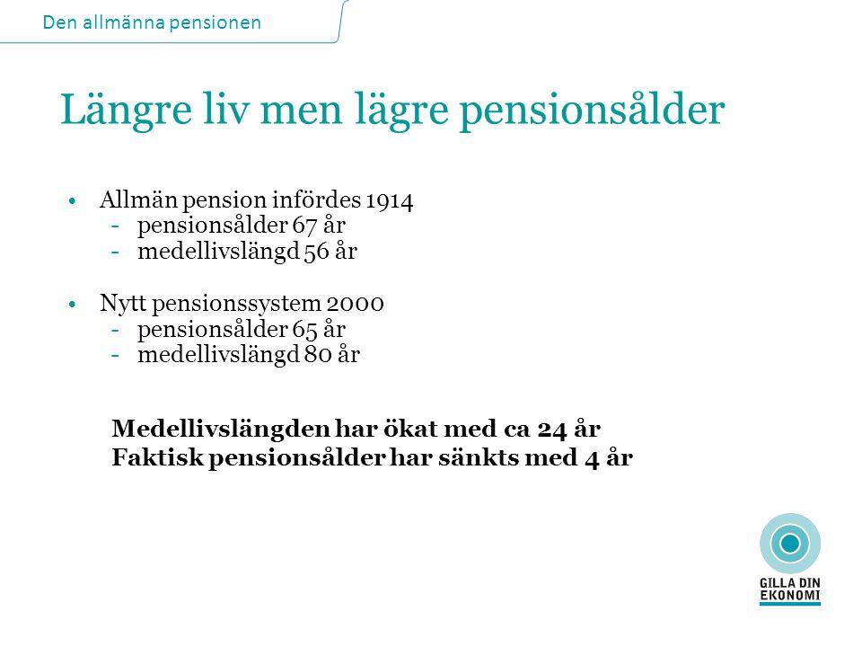 Den allmänna pensionen Längre liv men lägre pensionsålder •Allmän pension infördes 1914 -pensionsålder 67 år -medellivslängd 56 år •Nytt pensionssyste