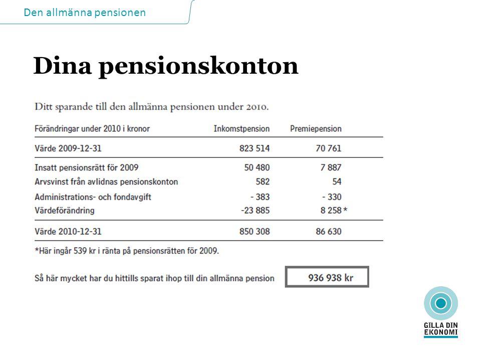 Den allmänna pensionen Dina pensionskonton