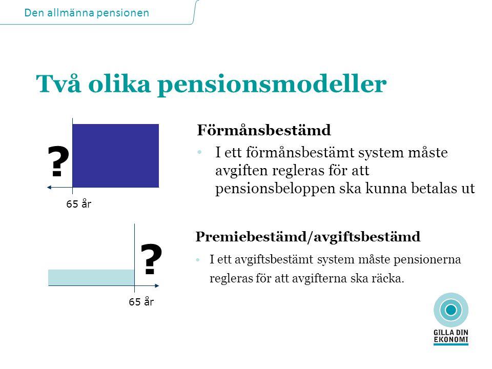 Två olika pensionsmodeller Förmånsbestämd • I ett förmånsbestämt system måste avgiften regleras för att pensionsbeloppen ska kunna betalas ut Premiebe