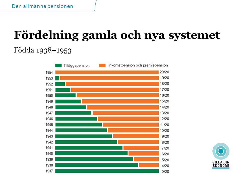 Den allmänna pensionen Fördelning gamla och nya systemet Födda 1938–1953