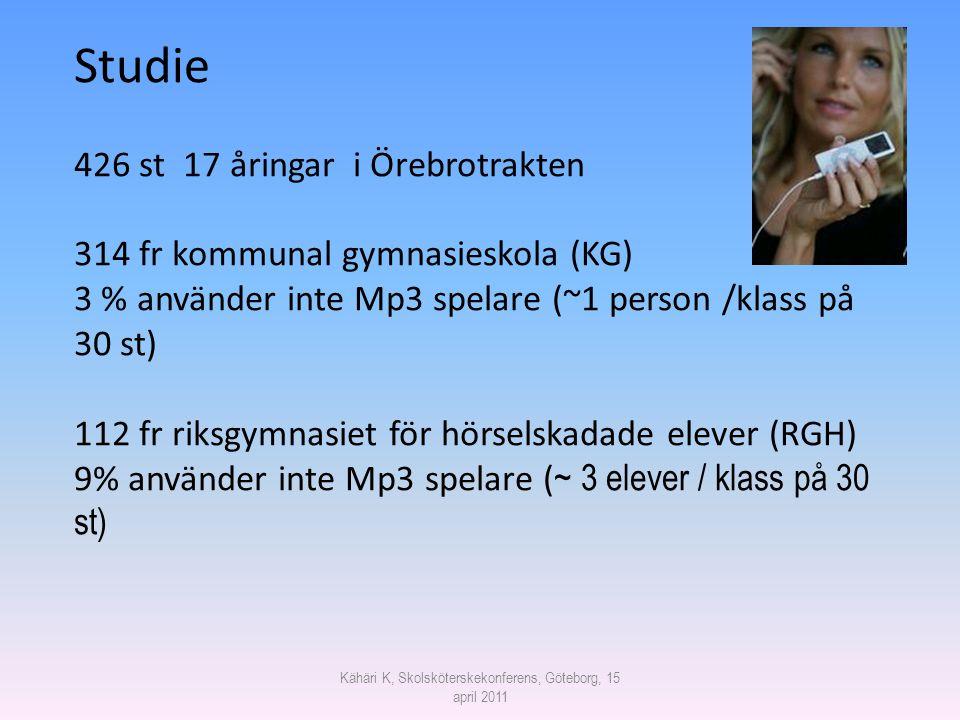 Kähäri K, Skolsköterskekonferens, Göteborg, 15 april 2011 Studie 426 st 17 åringar i Örebrotrakten 314 fr kommunal gymnasieskola (KG) 3 % använder int