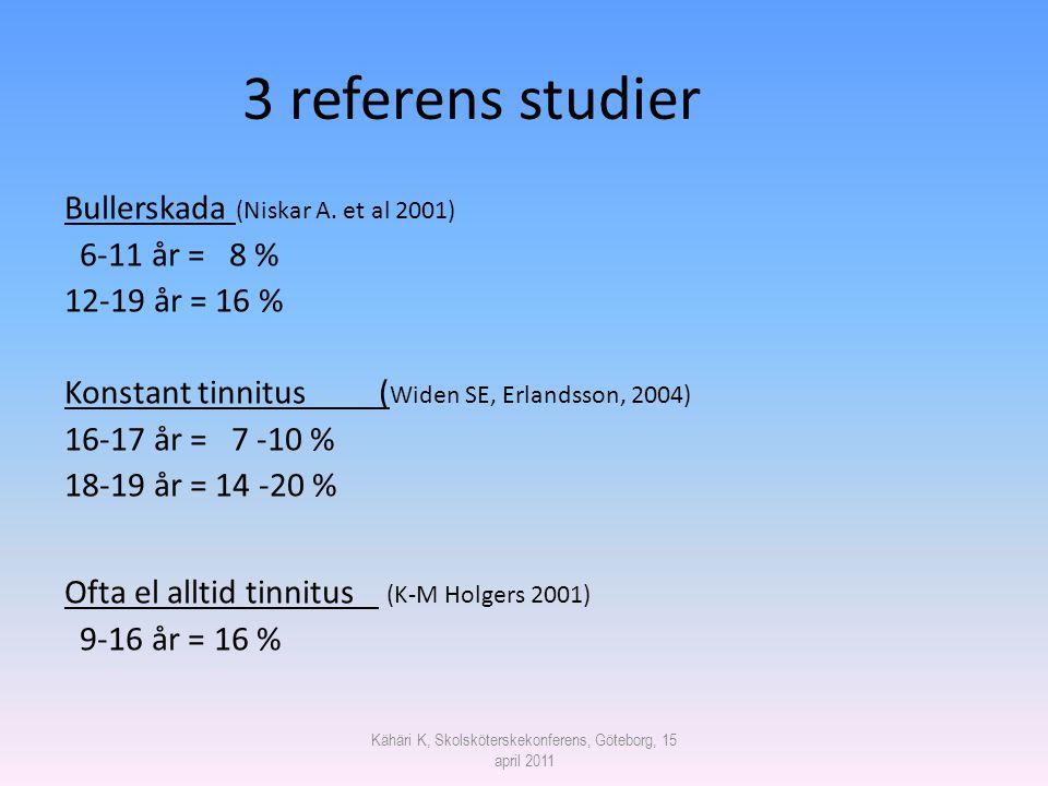 Kähäri K, Skolsköterskekonferens, Göteborg, 15 april 2011 3 referens studier Bullerskada (Niskar A. et al 2001) 6-11 år = 8 % 12-19 år = 16 % Konstant