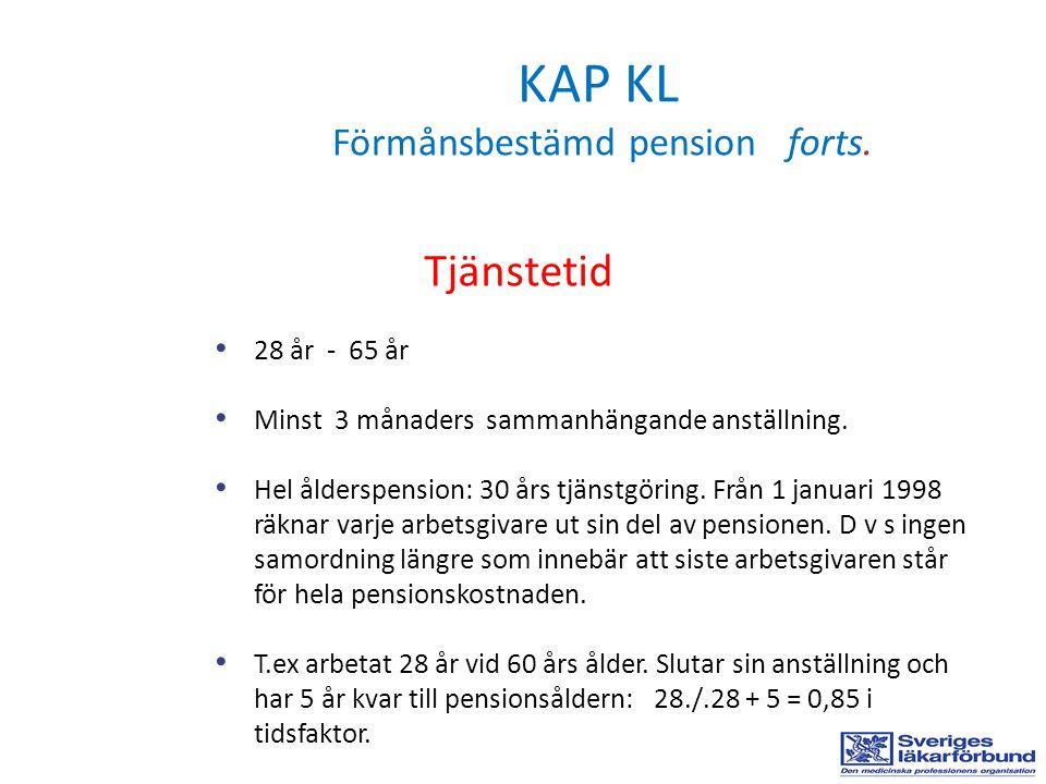 KAP KL Förmånsbestämd pension forts. Tjänstetid • 28 år - 65 år • Minst 3 månaders sammanhängande anställning. • Hel ålderspension: 30 års tjänstgörin