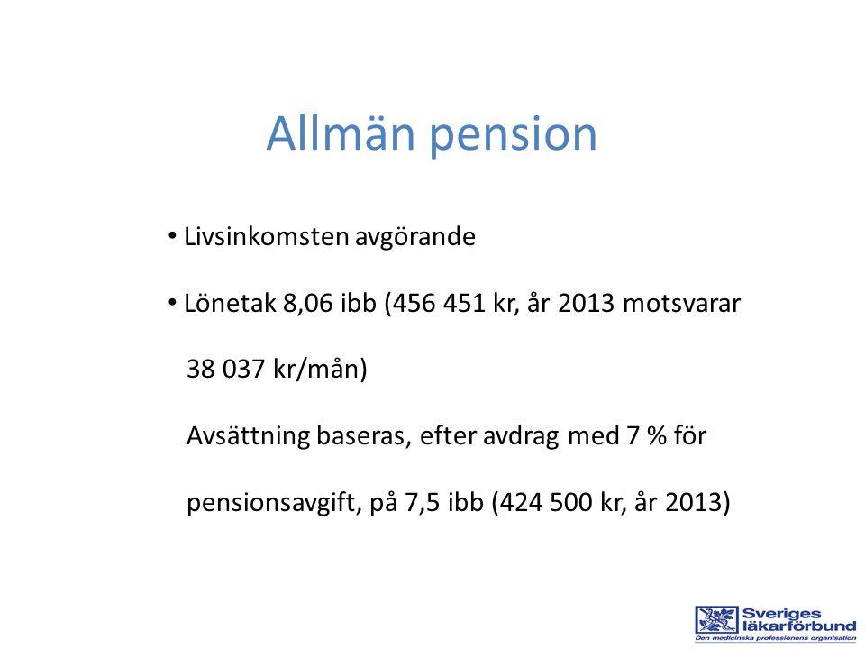 • Livsinkomsten avgörande • Lönetak 8,06 ibb (456 451 kr, år 2013 motsvarar 38 037 kr/mån) Avsättning baseras, efter avdrag med 7 % för pensionsavgift