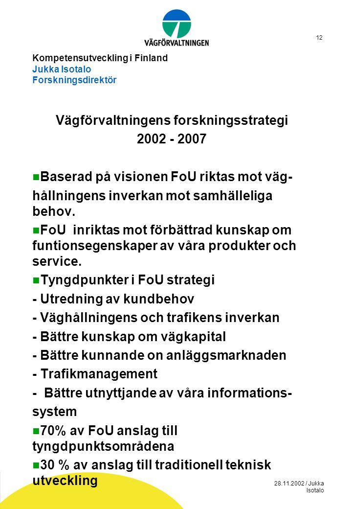 28.11.2002 / Jukka Isotalo 12 Kompetensutveckling i Finland Jukka Isotalo Forskningsdirektör Vägförvaltningens forskningsstrategi 2002 - 2007  Basera
