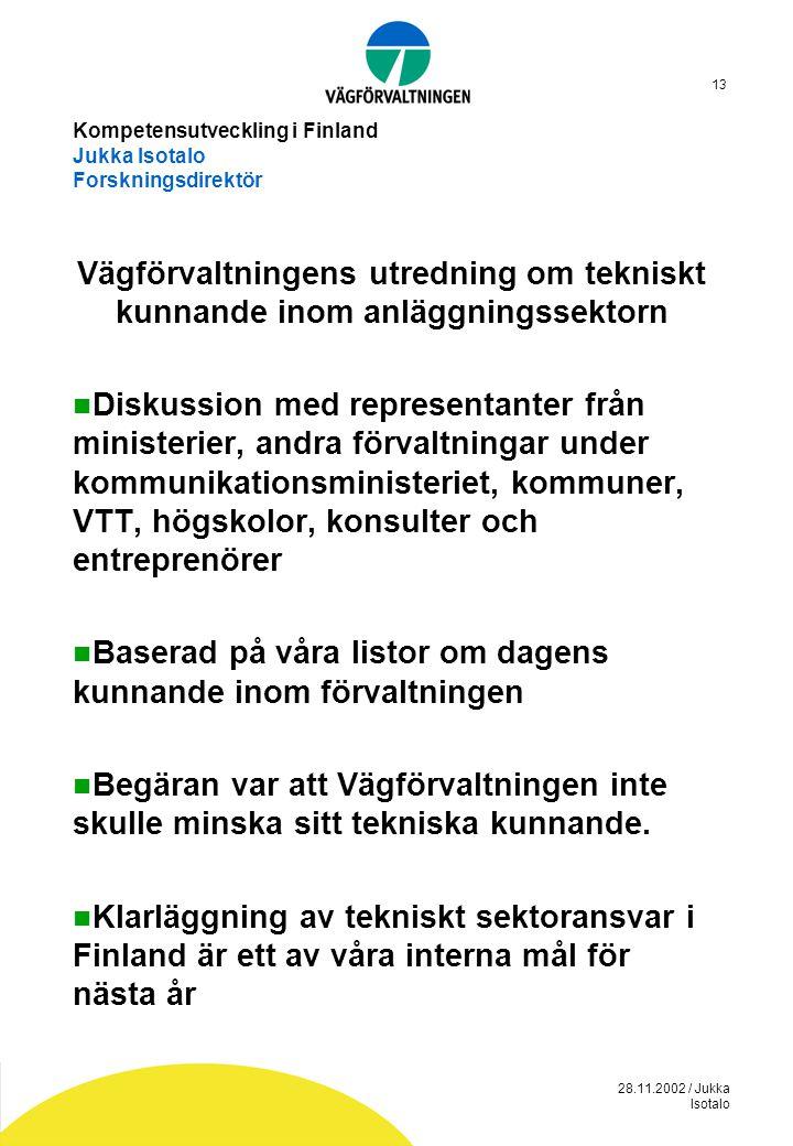 28.11.2002 / Jukka Isotalo 13 Kompetensutveckling i Finland Jukka Isotalo Forskningsdirektör Vägförvaltningens utredning om tekniskt kunnande inom anl