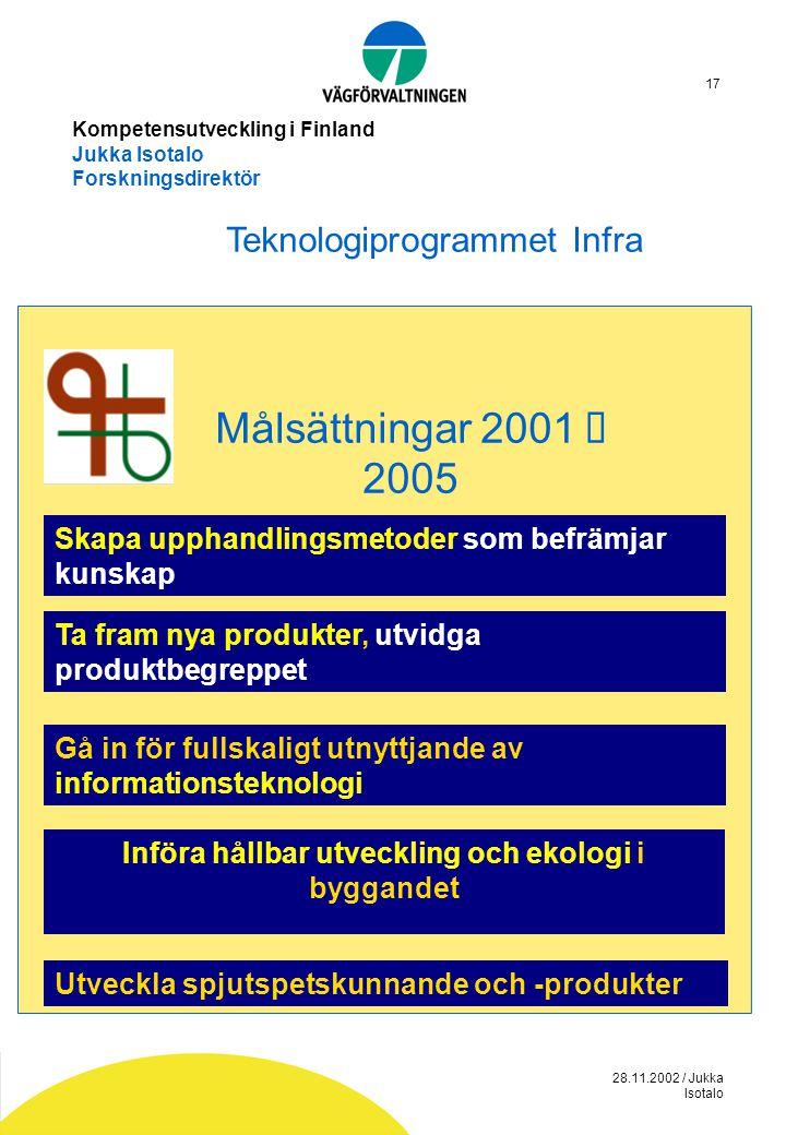 28.11.2002 / Jukka Isotalo 17 Kompetensutveckling i Finland Jukka Isotalo Forskningsdirektör Skapa upphandlingsmetoder som befrämjar kunskap Ta fram n