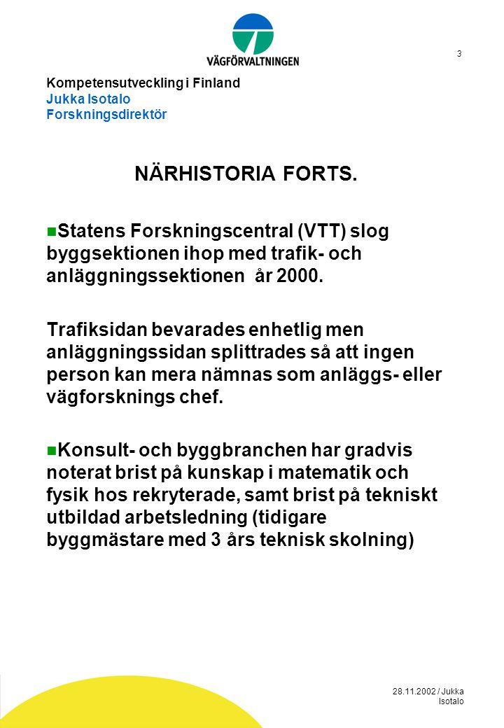 28.11.2002 / Jukka Isotalo 3 Kompetensutveckling i Finland Jukka Isotalo Forskningsdirektör NÄRHISTORIA FORTS.  Statens Forskningscentral (VTT) slog