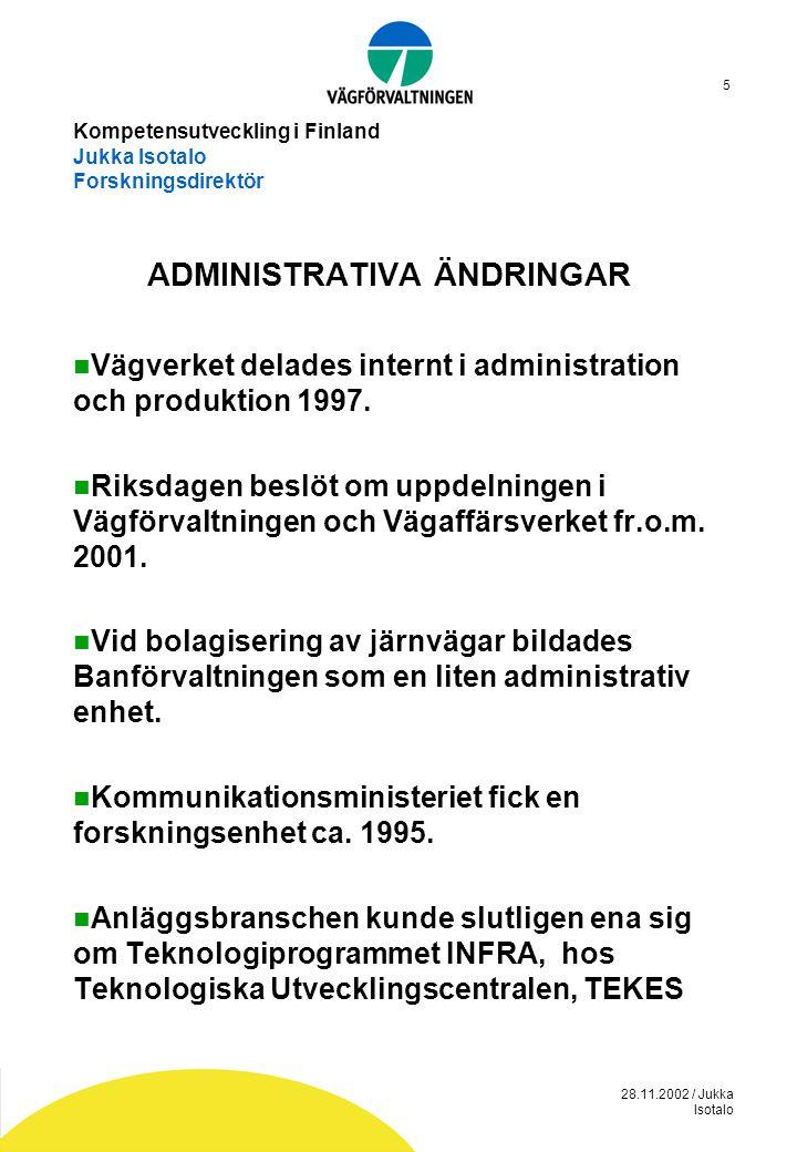 28.11.2002 / Jukka Isotalo 5 Kompetensutveckling i Finland Jukka Isotalo Forskningsdirektör ADMINISTRATIVA ÄNDRINGAR  Vägverket delades internt i adm