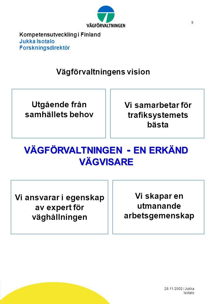 28.11.2002 / Jukka Isotalo 10 Kompetensutveckling i Finland Jukka Isotalo Forskningsdirektör Upphandlingsutvecklingens mål är  Att gå från priskonkurrerade arbetsuppgifter genom projektering- byggande till livskostnadsentreprenad  Att gå från enskilda konsulter och entreprenörer till huvudentreprenör- konsult-underleverantörnäter  Att gå från enstaka konsult- och arbetsuppgifter till leverantörnäter.