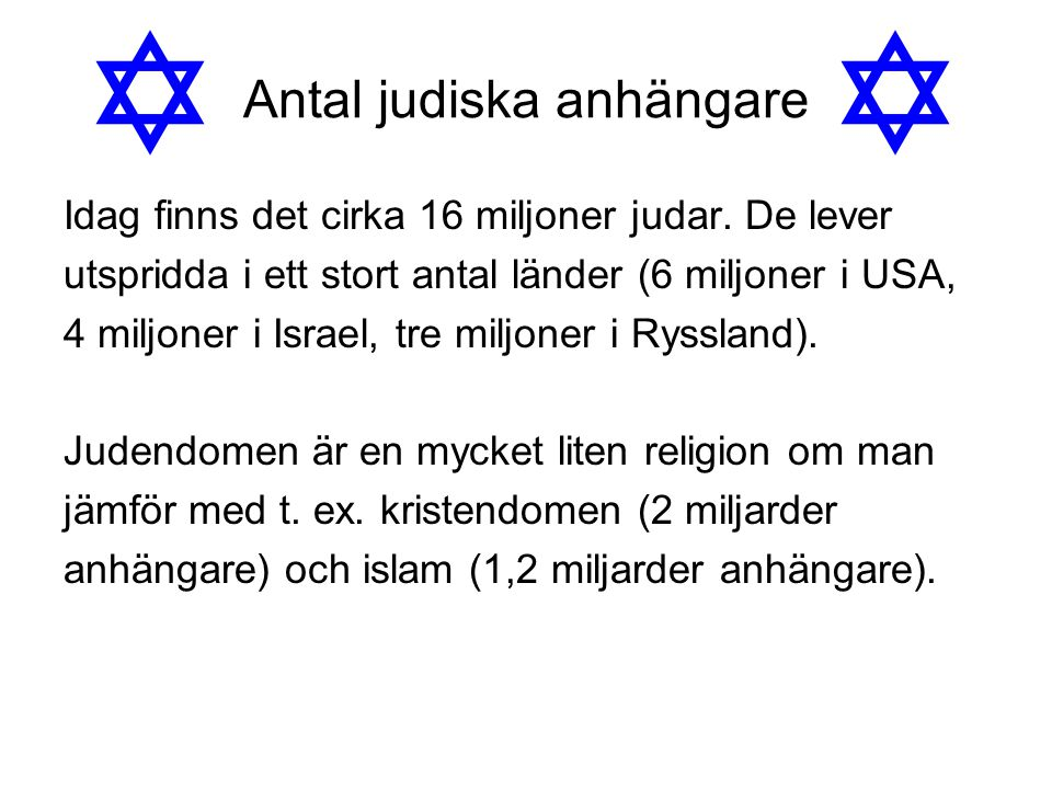 Antal judiska anhängare Idag finns det cirka 16 miljoner judar. De lever utspridda i ett stort antal länder (6 miljoner i USA, 4 miljoner i Israel, tr