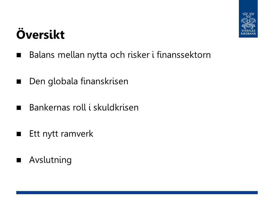  Balans mellan nytta och risker i finanssektorn  Den globala finanskrisen  Bankernas roll i skuldkrisen  Ett nytt ramverk  Avslutning