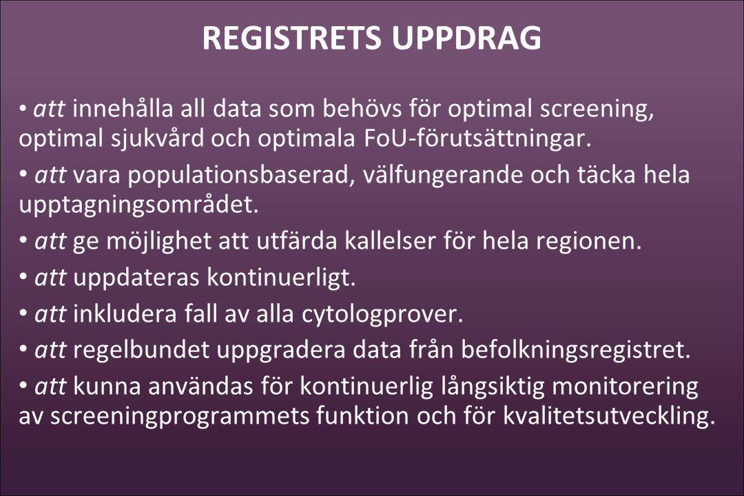 REGISTRETS UPPDRAG • att innehålla all data som behövs för optimal screening, optimal sjukvård och optimala FoU-förutsättningar. • att vara population