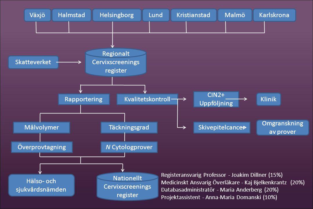 HalmstadVäxjöKristianstadLundMalmöKarlskronaHelsingborg Skatteverket Klinik CIN2+ Uppföljning Skivepitelcancer Hälso- och sjukvårdsnämden Målvolymer N