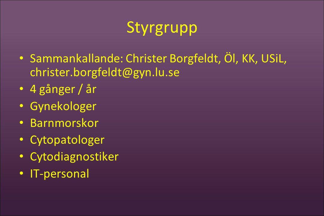 Styrgrupp • Sammankallande: Christer Borgfeldt, Öl, KK, USiL, christer.borgfeldt@gyn.lu.se • 4 gånger / år • Gynekologer • Barnmorskor • Cytopatologer