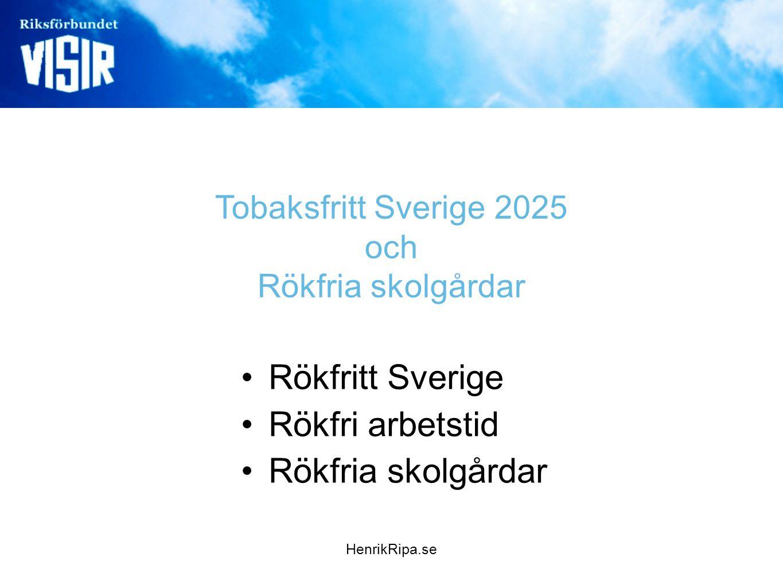 Tobaksfritt Sverige 2025 och Rökfria skolgårdar •Rökfritt Sverige •Rökfri arbetstid •Rökfria skolgårdar HenrikRipa.se