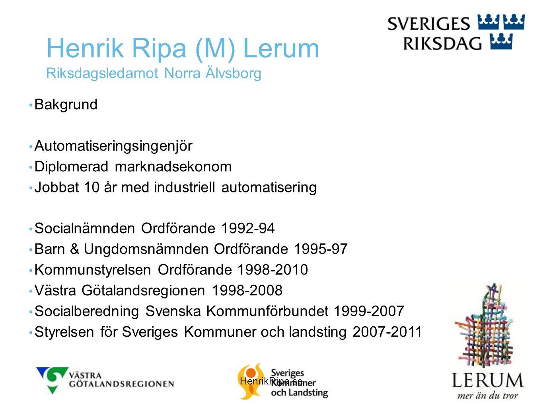 Henrik Ripa (M) Lerum Riksdagsledamot Norra Älvsborg • Bakgrund • Automatiseringsingenjör • Diplomerad marknadsekonom • Jobbat 10 år med industriell a
