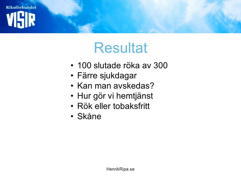 HenrikRipa.se Resultat •100 slutade röka av 300 •Färre sjukdagar •Kan man avskedas? •Hur gör vi hemtjänst •Rök eller tobaksfritt •Skåne