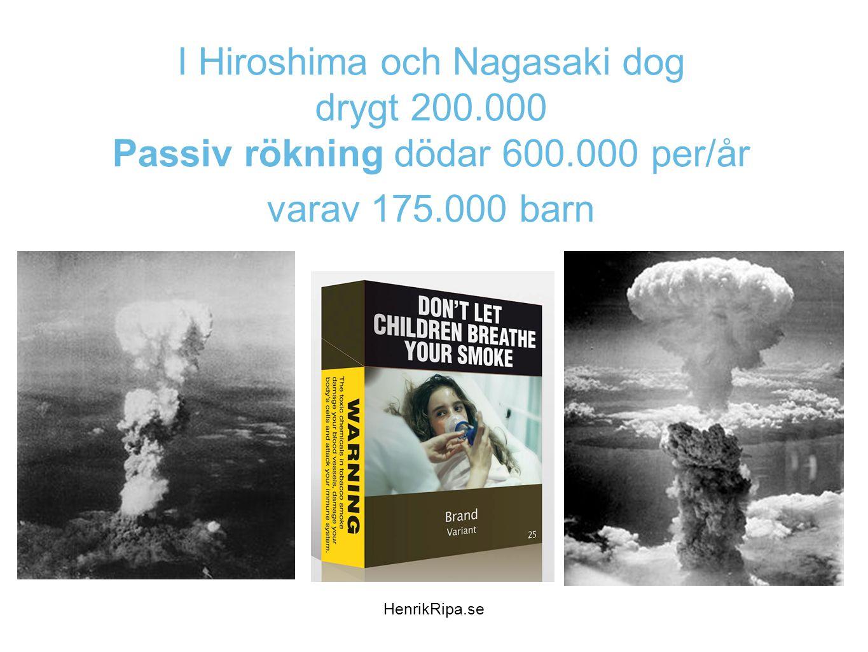 I Hiroshima och Nagasaki dog drygt 200.000 Passiv rökning dödar 600.000 per/år varav 175.000 barn HenrikRipa.se