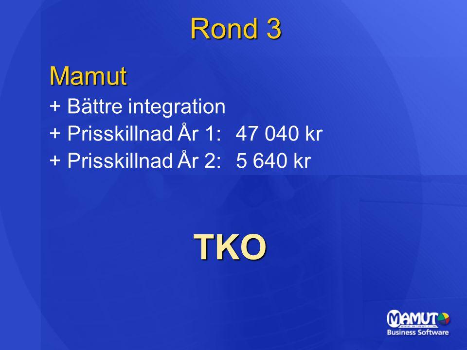 Rond 3 Mamut + Bättre integration + Prisskillnad År 1:47 040 kr + Prisskillnad År 2:5 640 kr TKO