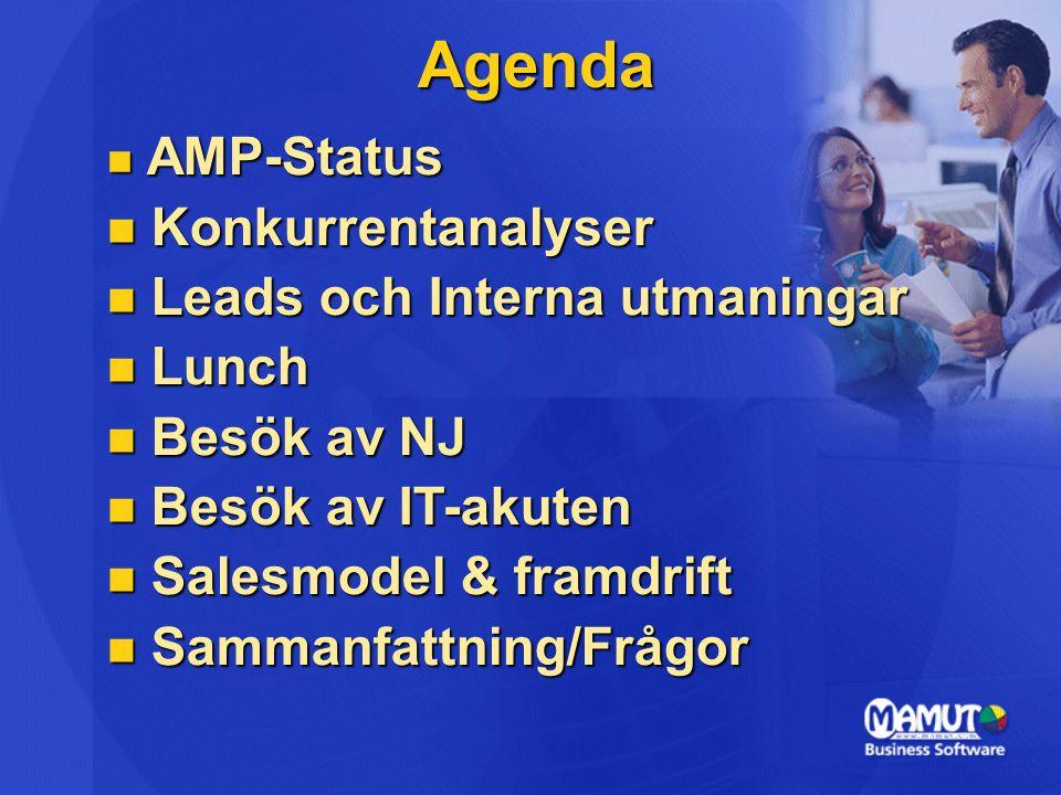 Agenda  AMP-Status  Konkurrentanalyser  Leads och Interna utmaningar  Lunch  Besök av NJ  Besök av IT-akuten  Salesmodel & framdrift  Sammanfattning/Frågor