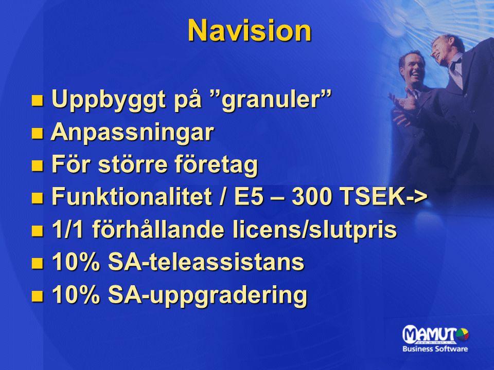  Uppbyggt på granuler  Anpassningar  För större företag  Funktionalitet / E5 – 300 TSEK->  1/1 förhållande licens/slutpris  10% SA-teleassistans  10% SA-uppgradering Navision