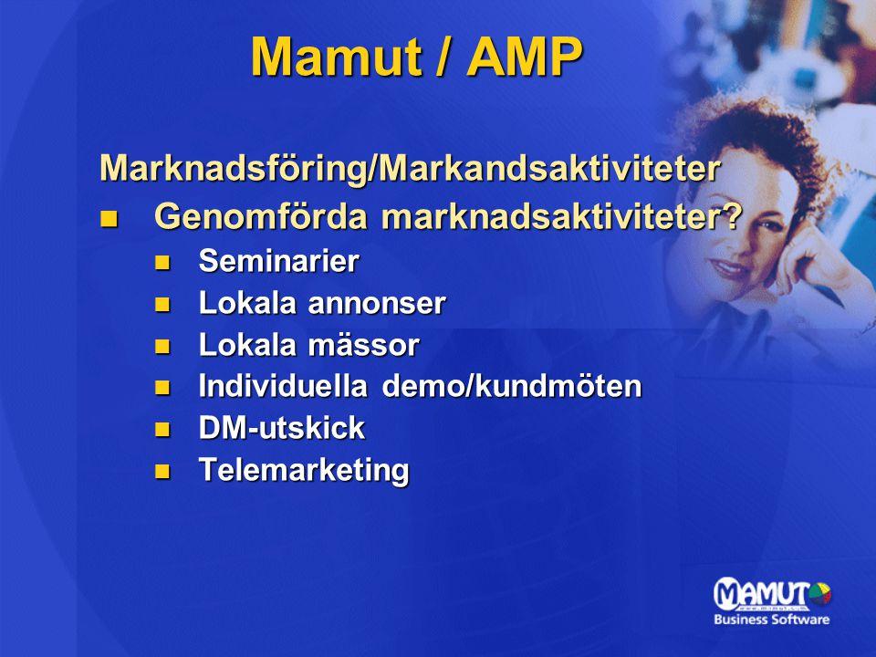 Marknadsföring/Markandsaktiviteter  Genomförda marknadsaktiviteter?  Seminarier  Lokala annonser  Lokala mässor  Individuella demo/kundmöten  DM