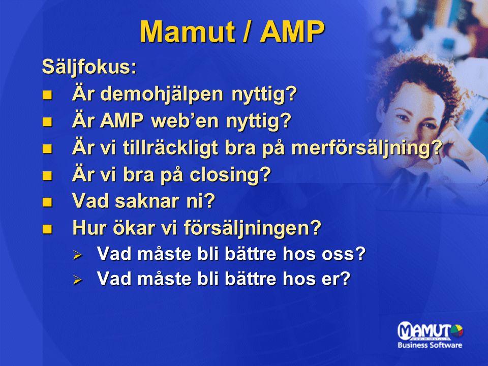 Säljfokus:  Är demohjälpen nyttig?  Är AMP web'en nyttig?  Är vi tillräckligt bra på merförsäljning?  Är vi bra på closing?  Vad saknar ni?  Hur