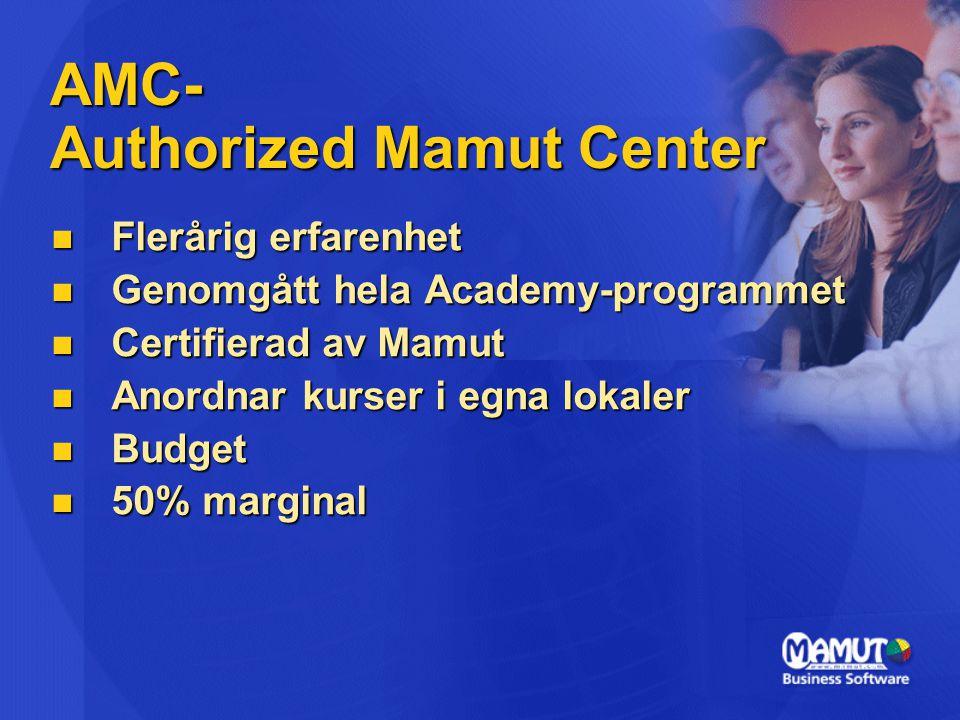 AMC- Authorized Mamut Center  Flerårig erfarenhet  Genomgått hela Academy-programmet  Certifierad av Mamut  Anordnar kurser i egna lokaler  Budge
