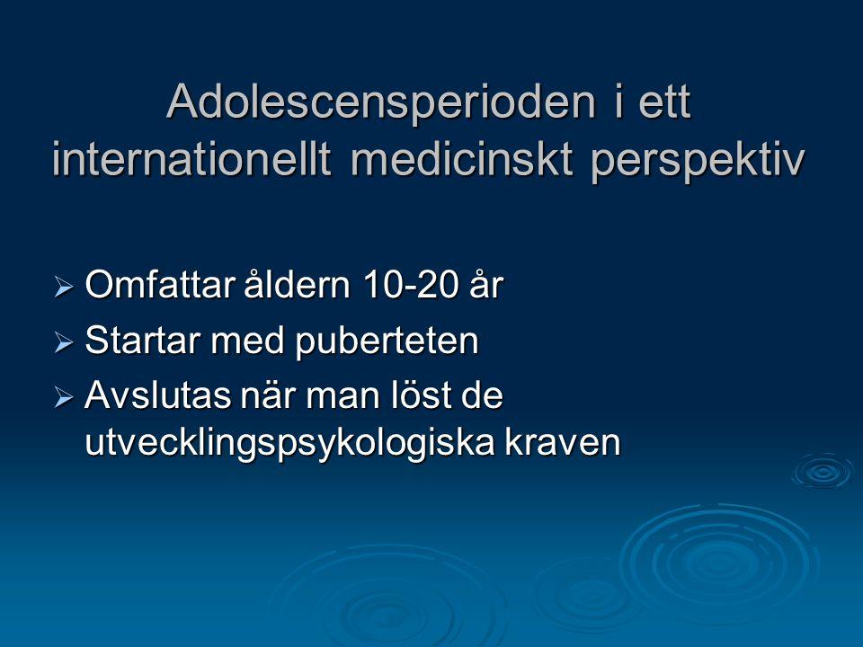 Adolescensperioden i ett internationellt medicinskt perspektiv  Omfattar åldern 10-20 år  Startar med puberteten  Avslutas när man löst de utveckli