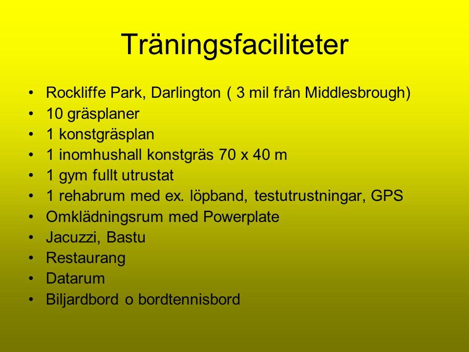 Träningsfaciliteter •Rockliffe Park, Darlington ( 3 mil från Middlesbrough) •10 gräsplaner •1 konstgräsplan •1 inomhushall konstgräs 70 x 40 m •1 gym fullt utrustat •1 rehabrum med ex.