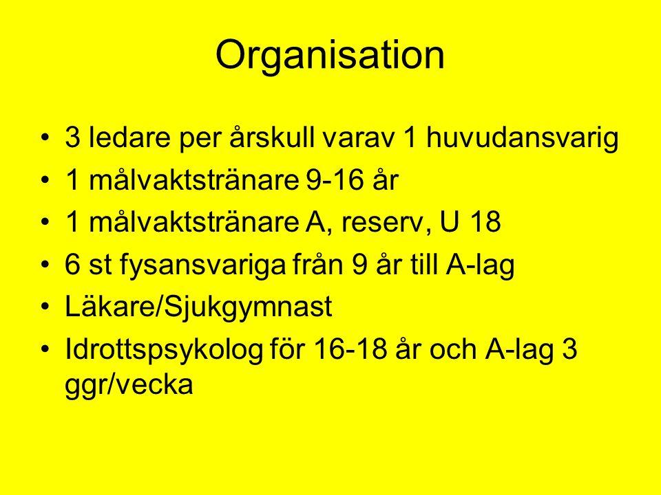 Organisation •3 ledare per årskull varav 1 huvudansvarig •1 målvaktstränare 9-16 år •1 målvaktstränare A, reserv, U 18 •6 st fysansvariga från 9 år till A-lag •Läkare/Sjukgymnast •Idrottspsykolog för 16-18 år och A-lag 3 ggr/vecka