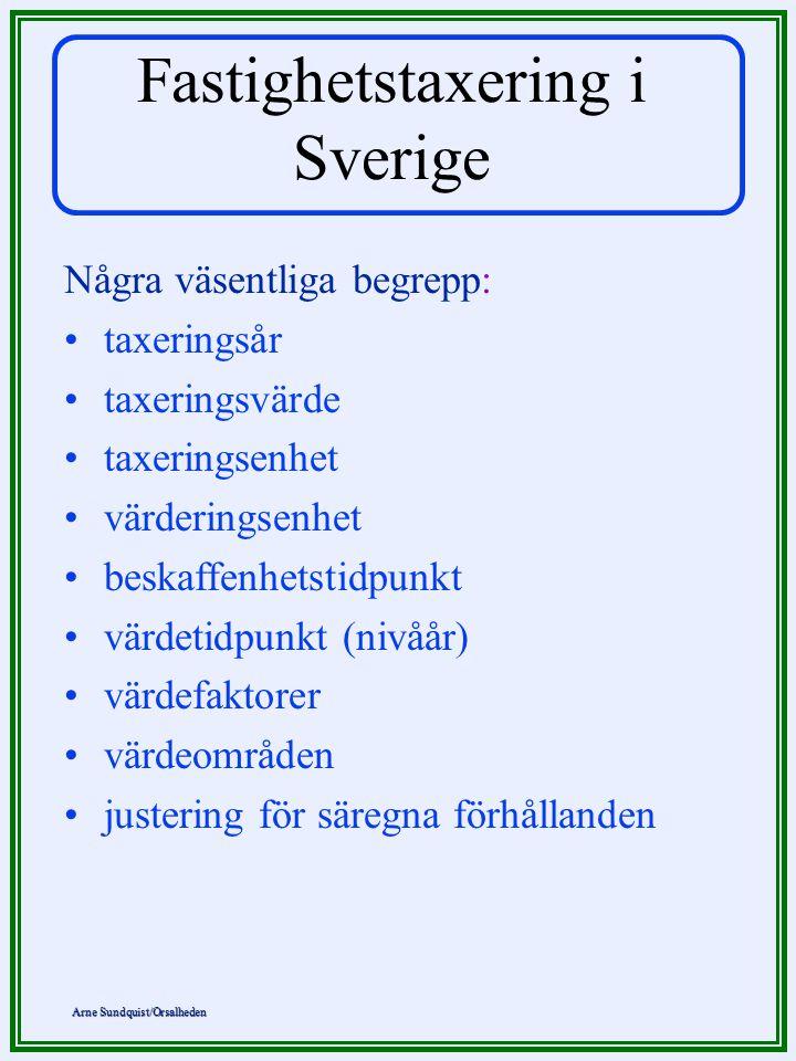 Arne Sundquist/Orsalheden Fastighetstaxering i Sverige Några väsentliga begrepp: •taxeringsår •taxeringsvärde •taxeringsenhet •värderingsenhet •beskaf