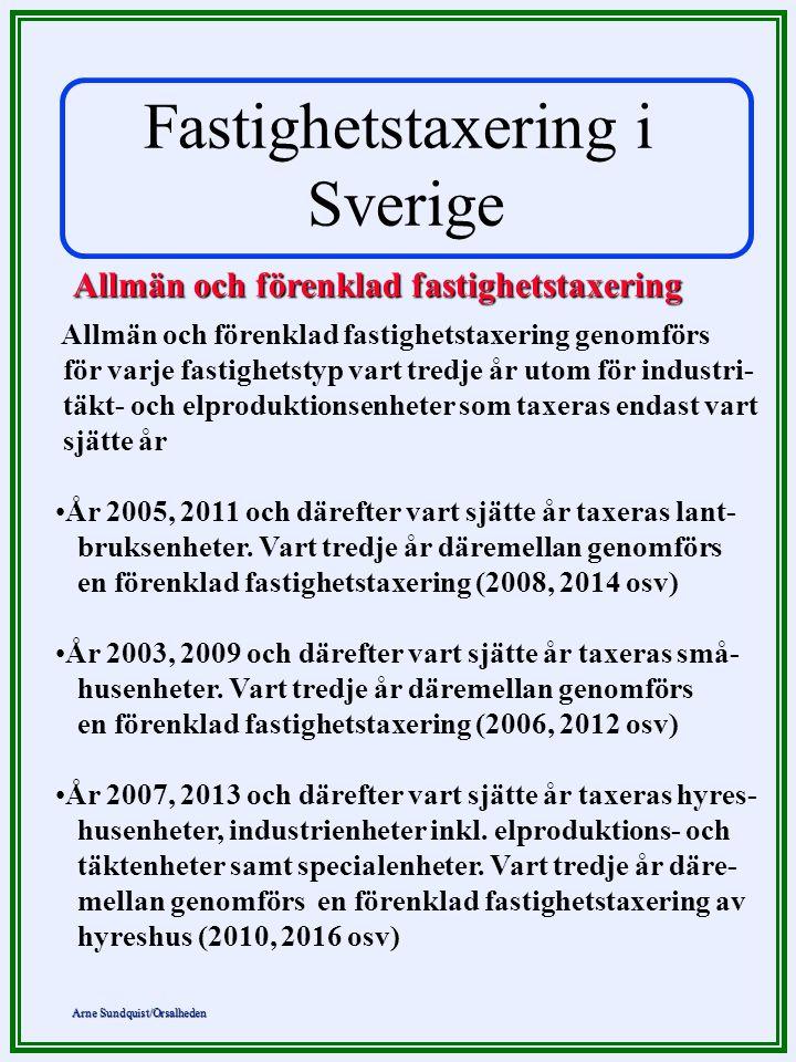 Arne Sundquist/Orsalheden Allmän och förenklad fastighetstaxering Allmän och förenklad fastighetstaxering genomförs för varje fastighetstyp vart tredj