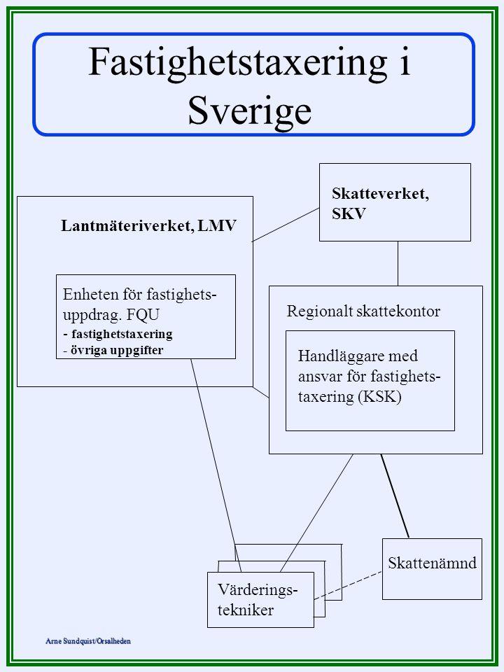Arne Sundquist/Orsalheden Fastighetstaxering i Sverige Lantmäteriverket, LMV Enheten för fastighets- uppdrag. FQU - fastighetstaxering - övriga uppgif