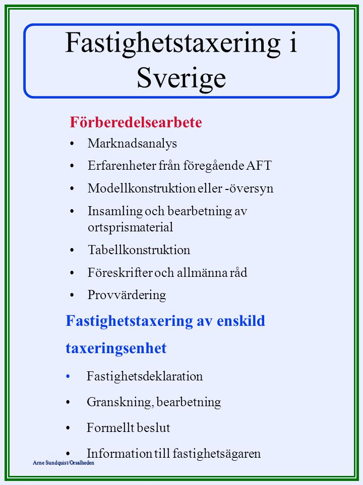 Arne Sundquist/Orsalheden Fastighetstaxering i Sverige Förberedelsearbete •Marknadsanalys •Erfarenheter från föregående AFT •Modellkonstruktion eller